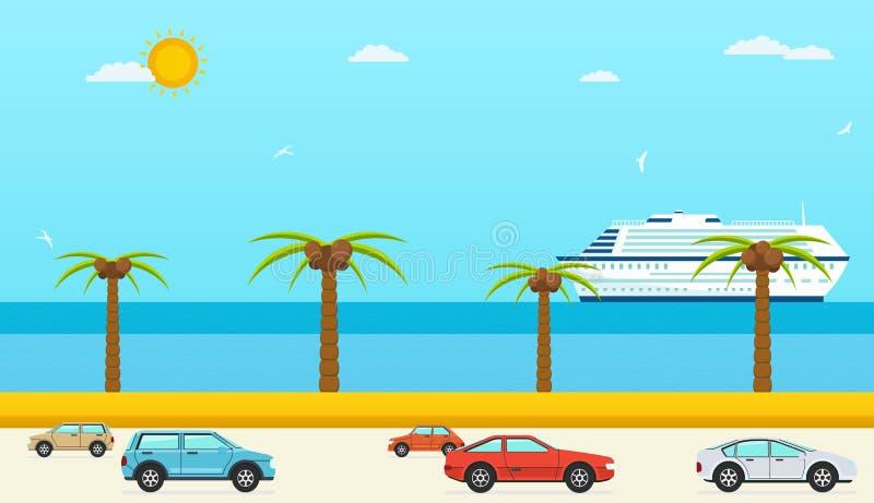 Opinión del mar en el verano, carretera con los coches Mar con la playa y las palmeras, nave ilustración del vector