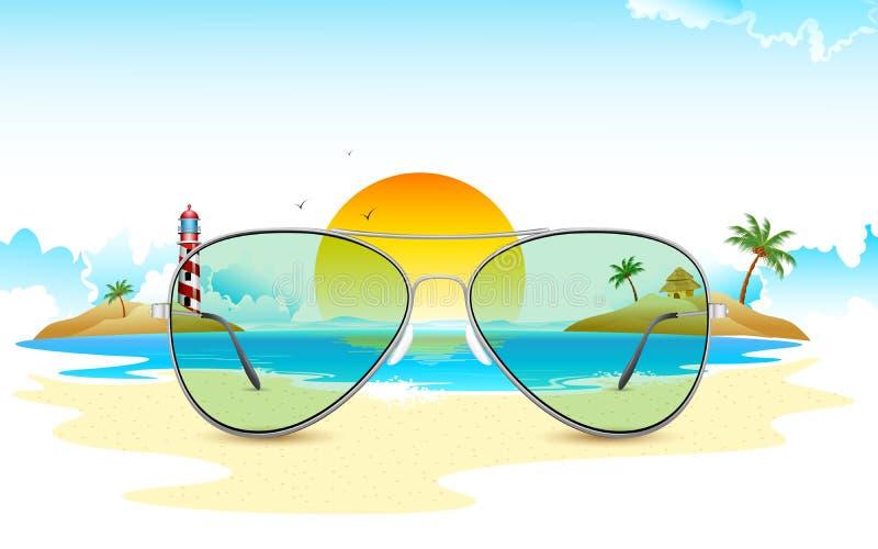 Opinión del mar a través de los vidrios de Sun libre illustration