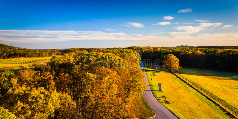 Opinión del otoño de campos de batalla de la torre de observación de Longstreet imagenes de archivo