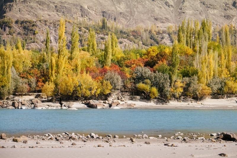 Opinión del paisaje de la naturaleza de Ghanche en la estación del otoño Árboles coloridos con el río y la montaña de la turquesa fotos de archivo libres de regalías