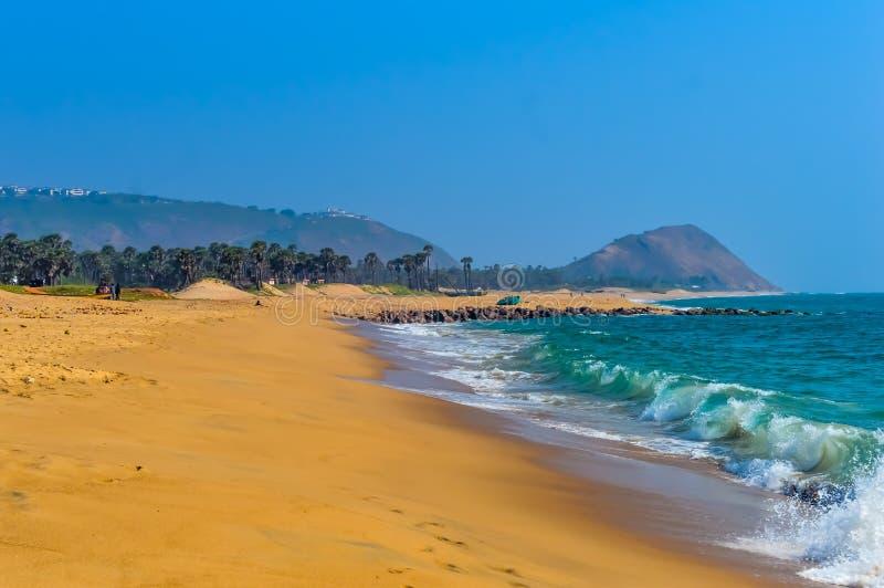 Opinión del paisaje de la playa la India Asia del mar de Goa fotografía de archivo