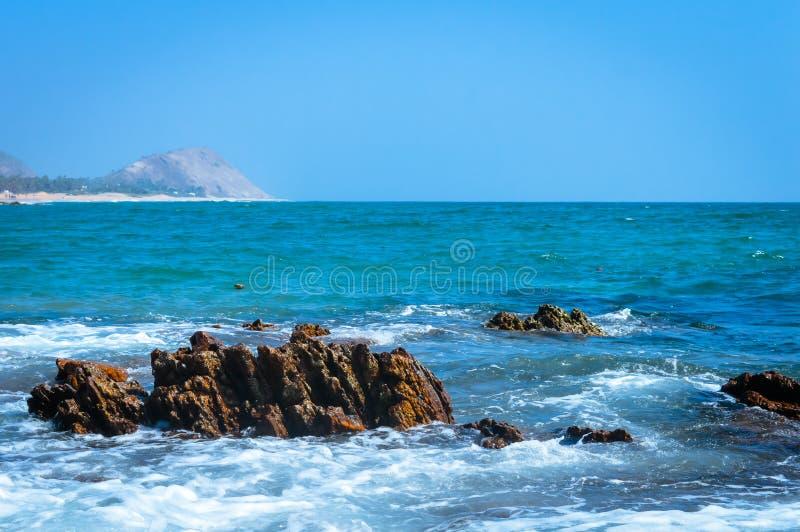 Opinión del paisaje de la playa la India Asia del mar de Goa fotografía de archivo libre de regalías