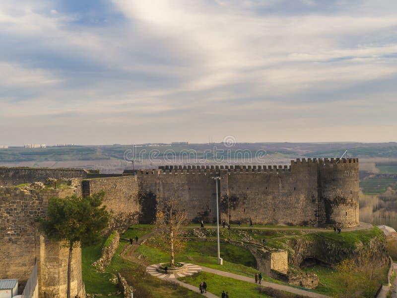 Opinión del paisaje de las paredes históricas del diyarbakir-pavo foto de archivo libre de regalías