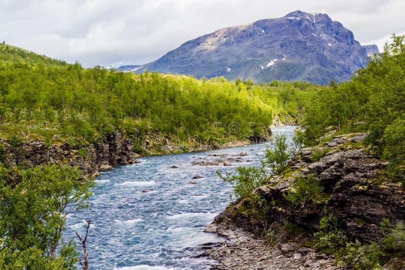 Opinión del paisaje en el norte sueco Río de las montañas, imagen de archivo