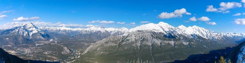 Opinión del paisaje del sitio de la ciudad de Banff y de montañas circundantes, según lo visto de la montaña del azufre, parque n foto de archivo