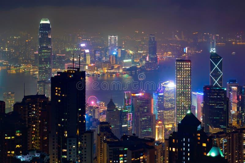 Opinión del paisaje urbano del horizonte de los rascacielos de Hong Kong fotografía de archivo