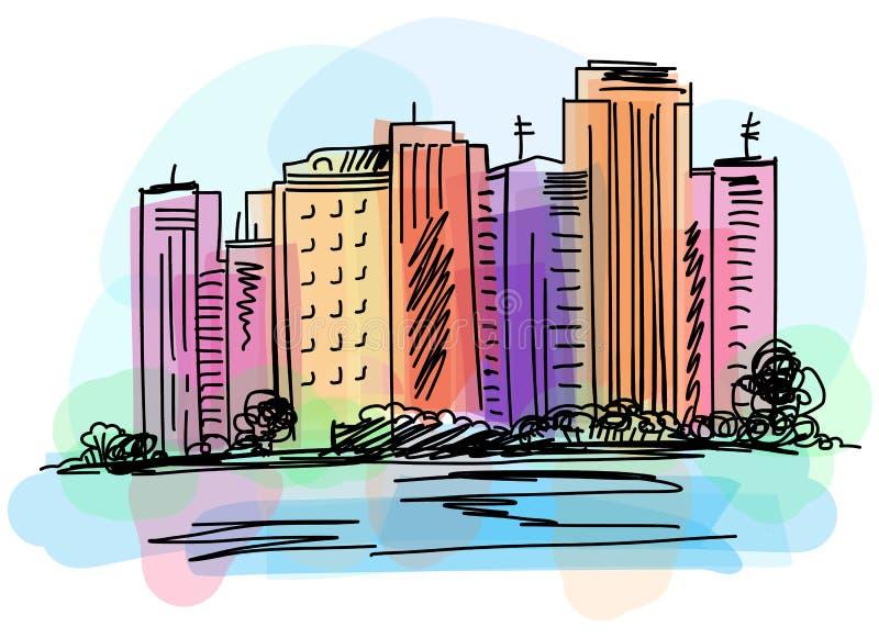 Opinión del paisaje urbano sobre el terraplén Dé la acuarela y los marcadores digitales exhaustos del vector ejemplo libre illustration
