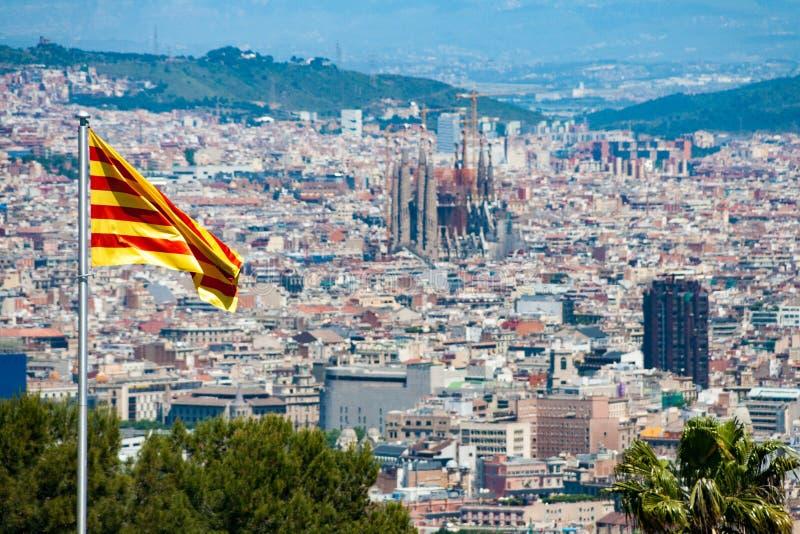 Opinión del panorama de Barcelona del castillo de Montjuic, España fotografía de archivo libre de regalías