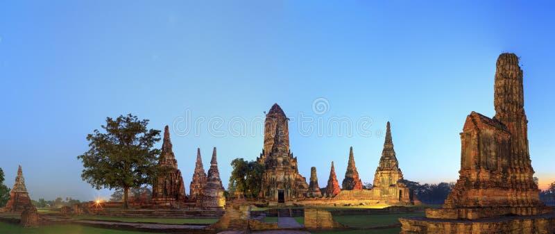 Opinión del panorama de los restos antiguos en Ayutthaya fotografía de archivo libre de regalías