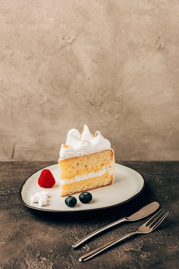 opinión del primer de la torta deliciosa dulce con las bayas y la crema azotada imagen de archivo