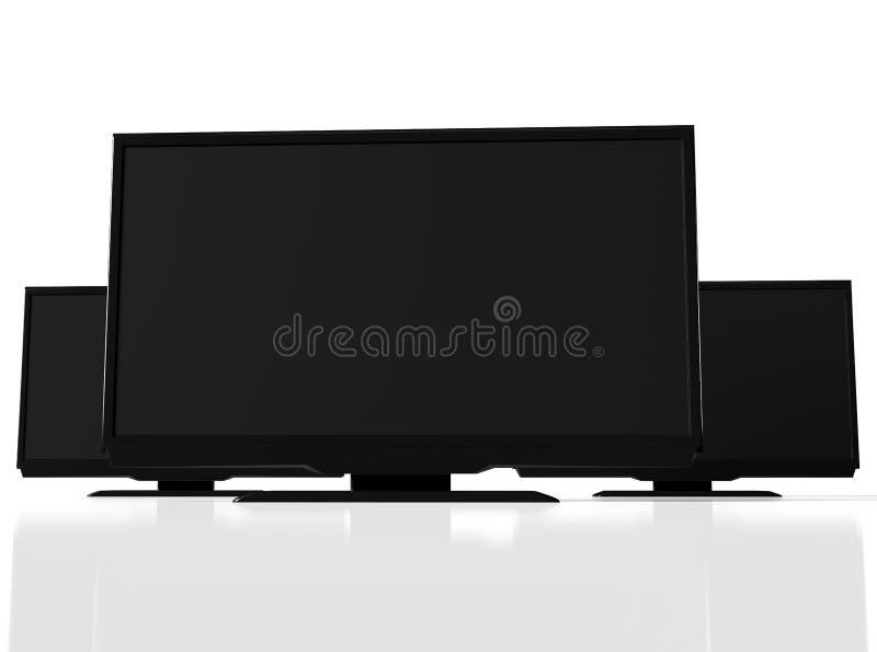 Opinión del primer de las TV llevadas negras abstractas en el fondo blanco ilustración del vector