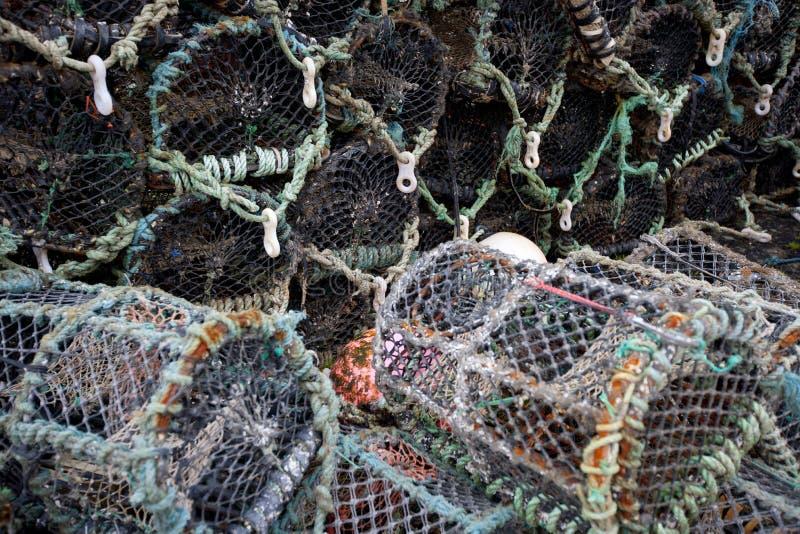 Opinión del primer de los potes de pesca del cangrejo de la langosta imagen de archivo
