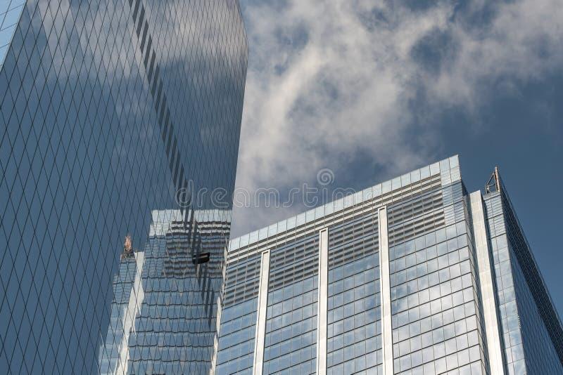 Opinión del primer de rascacielos modernos en el Lower Manhattan financiero New York City del distrito imagen de archivo libre de regalías