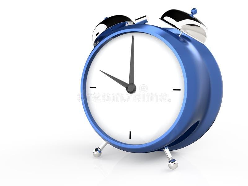 Opinión del primer del despertador azul ilustración del vector