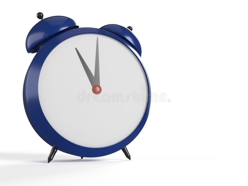 Opinión del primer del despertador azul stock de ilustración