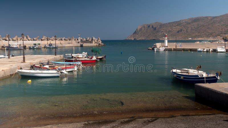 Opinión del puerto de Milatos Creta del este del norte fotos de archivo libres de regalías