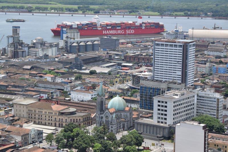 Opinión del puerto en Santos Brasil fotografía de archivo