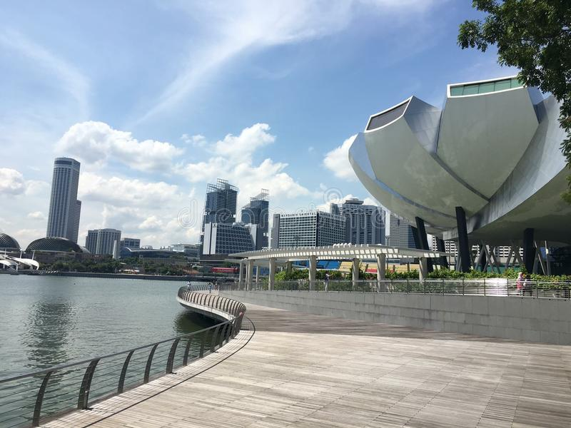 Opinión del río de la libertad del tiempo de Singapur imagen de archivo libre de regalías