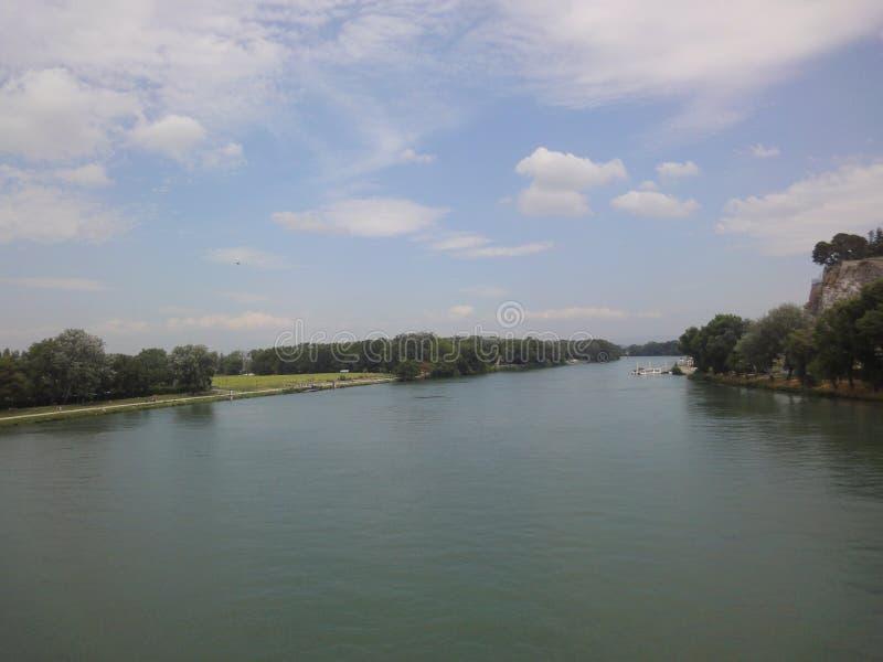 Opinión del río Rhone, Aviñón fotografía de archivo