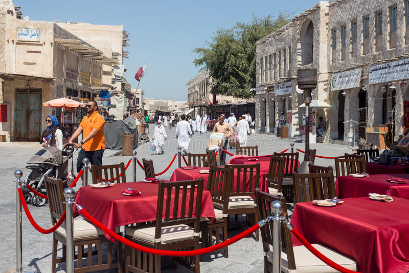 Opinión del souq de Doha imagenes de archivo