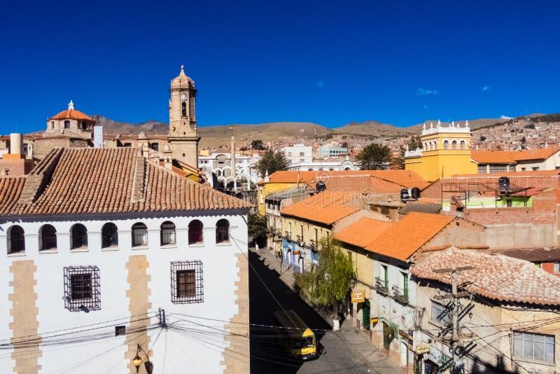 Opinión del tejado a Cerro de Potosi o a Cerro Rico, Potosi, Bolivia imagen de archivo libre de regalías