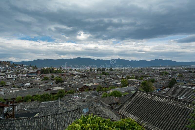 Opinión del tejado de Lijiang fotos de archivo libres de regalías