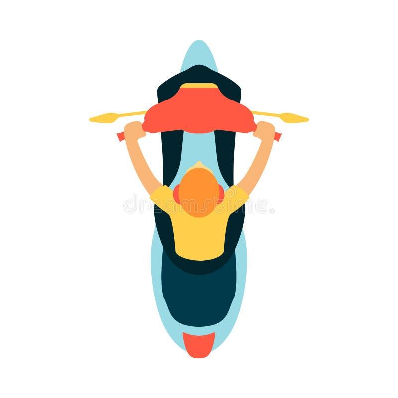 Opinión del top o de plan del conductor del hombre que se sienta en estilo plano de la historieta de la motocicleta ilustración del vector