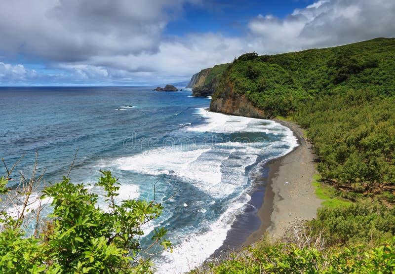 Opinión del valle de Pololu en la isla grande imagen de archivo
