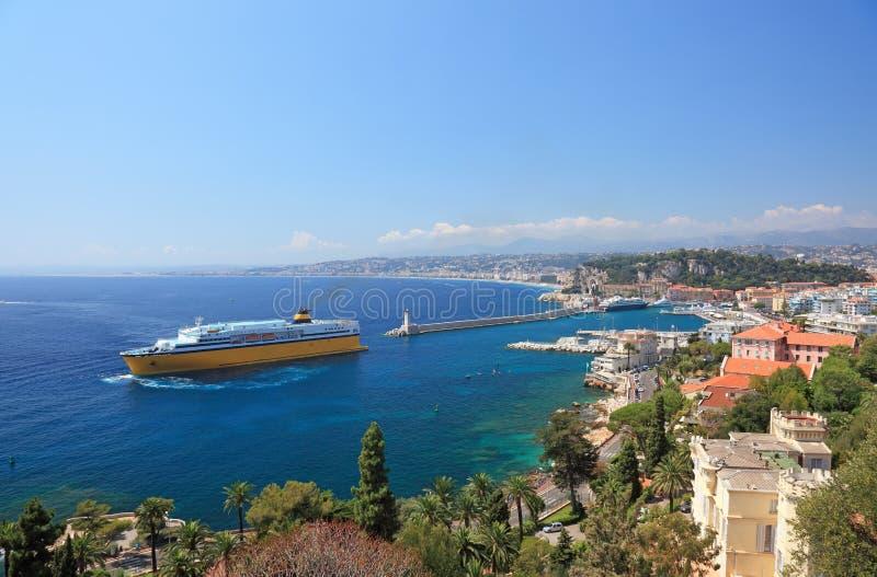 Opinión del verano de la ciudad de Niza. imagen de archivo