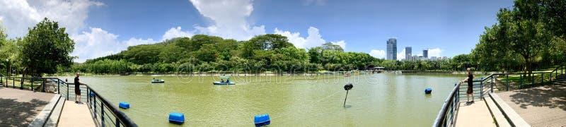 Opinión del verano del panorama del lago del parque del loto de Shenzhen imagenes de archivo