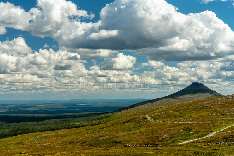 Opinión del verano sobre las montañas suecas septentrionales foto de archivo