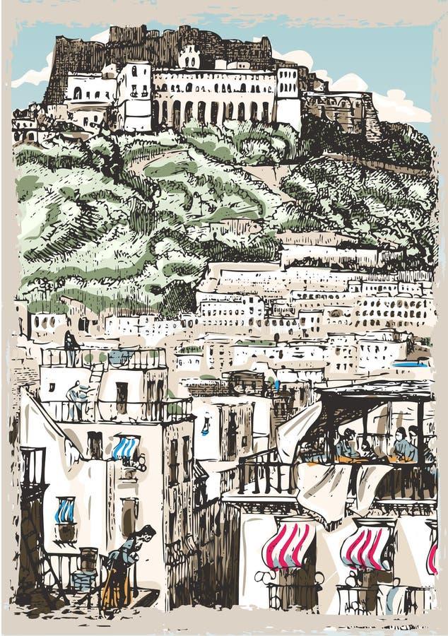 Opinión del vintage del castillo y de palacios en Nápoles, Italia stock de ilustración