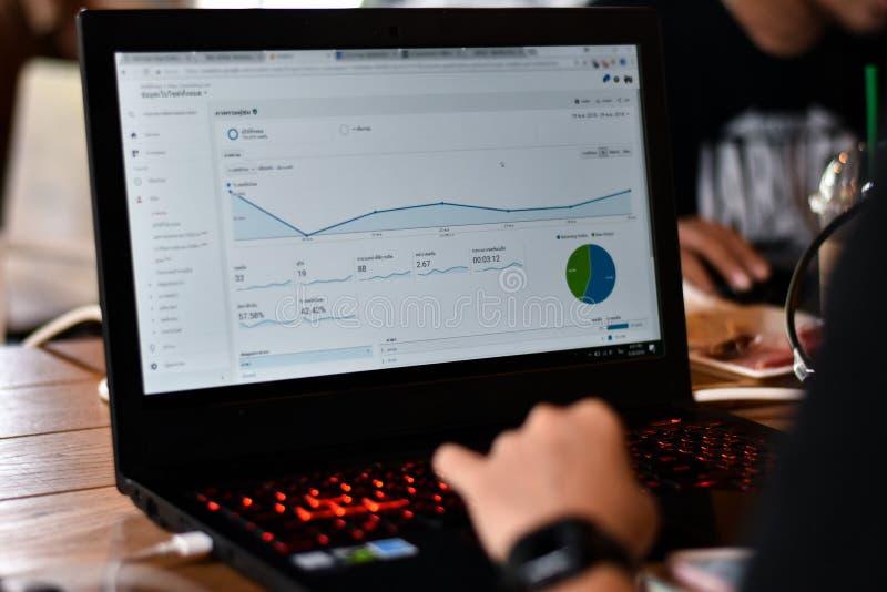 Opini?n del Webmaster un gr?fico del informe de Google Analytics fotografía de archivo