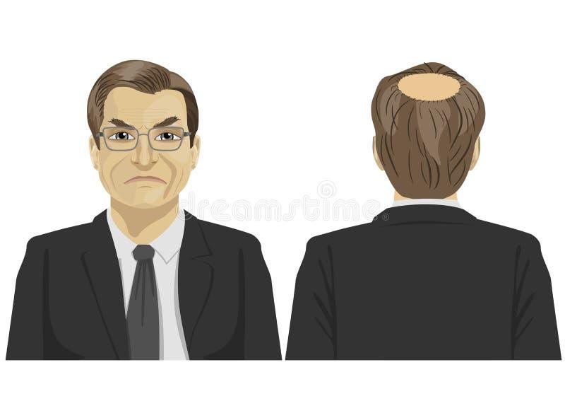 Opinión delantera y trasera el hombre de negocios maduro triste con problema calvo stock de ilustración
