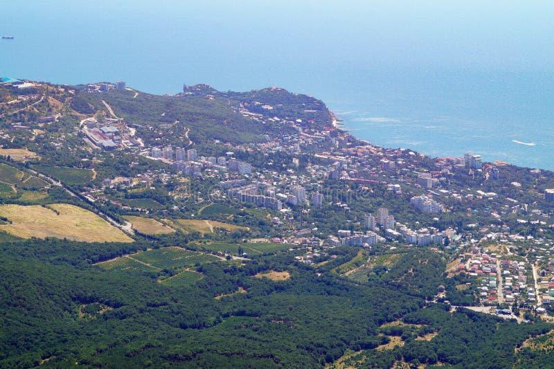 Opinión desde arriba sobre la costa Crimea del Mar Negro fotografía de archivo libre de regalías
