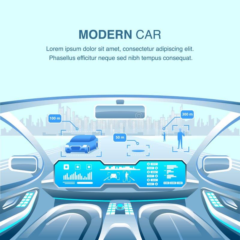 Opinión Driverless del coche moderno Ilustración del vector libre illustration
