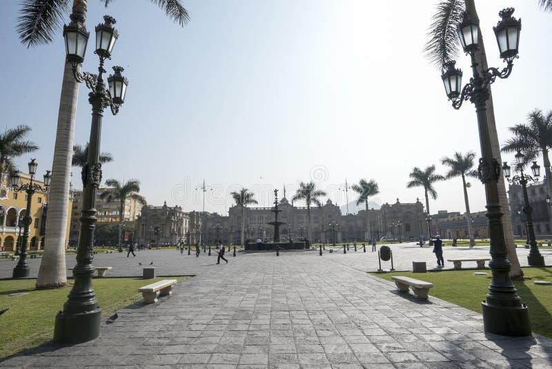 Opinión el alcalde de la plaza de Lima Perú, ciudad histórica imagen de archivo libre de regalías