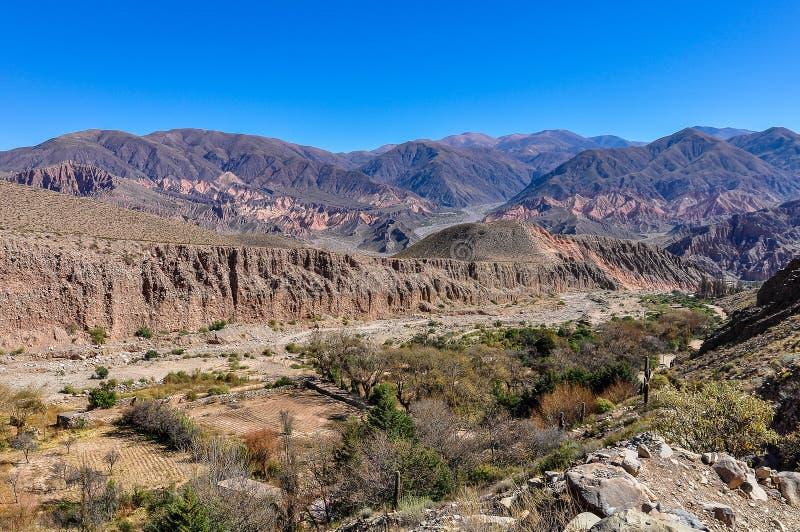 Opinión el Quebrada de la Humahuaca, la Argentina fotografía de archivo libre de regalías