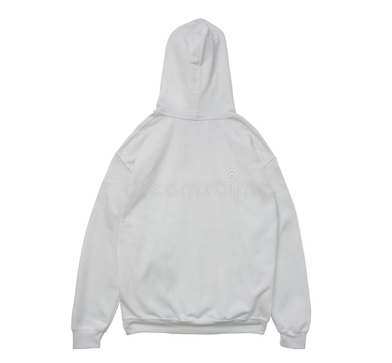 Opinión en blanco de la parte posterior del blanco del color del suéter con capucha foto de archivo libre de regalías