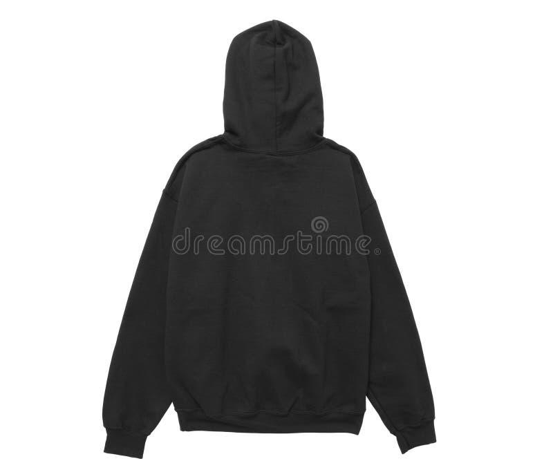 opinión en blanco de la parte posterior del negro del color del suéter con capucha imagen de archivo