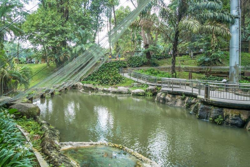 Opinión escénica Kuala Lumpur Bird Park, es también bien sabido como ` sin llamar de la pajarera del Libre-vuelo más grande del ` imágenes de archivo libres de regalías