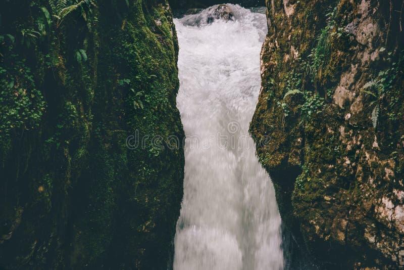 Opinión escénica serena del viaje del paisaje de la cascada imagen de archivo libre de regalías
