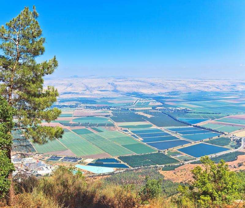Opinión escénica sobre el valle de Hula, Israel del norte imagen de archivo