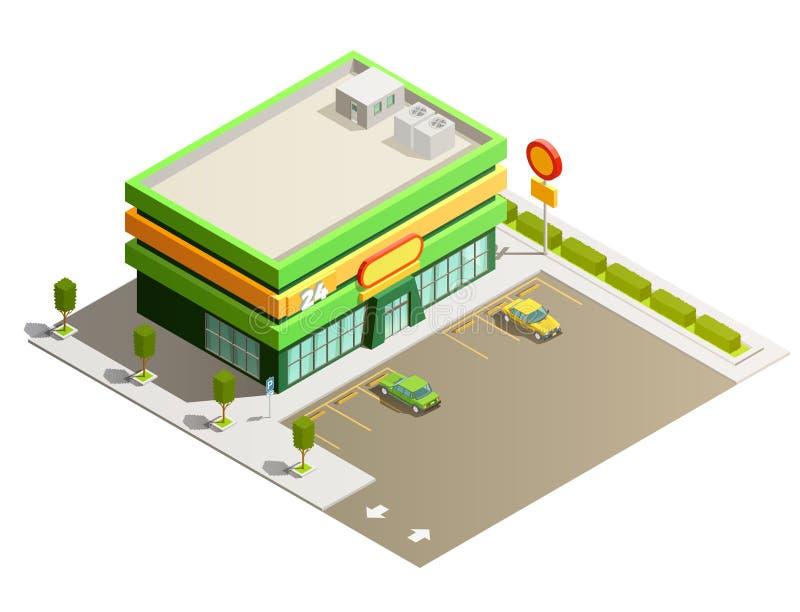 Opinión exterior isométrica del edificio de tienda del supermercado ilustración del vector