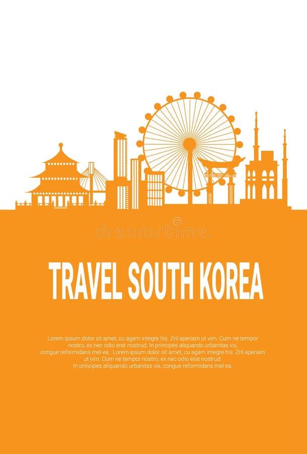 Opinión famosa de la ciudad de los edificios de Seul de la silueta de las señales de la Corea del Sur con los monumentos en el fo stock de ilustración