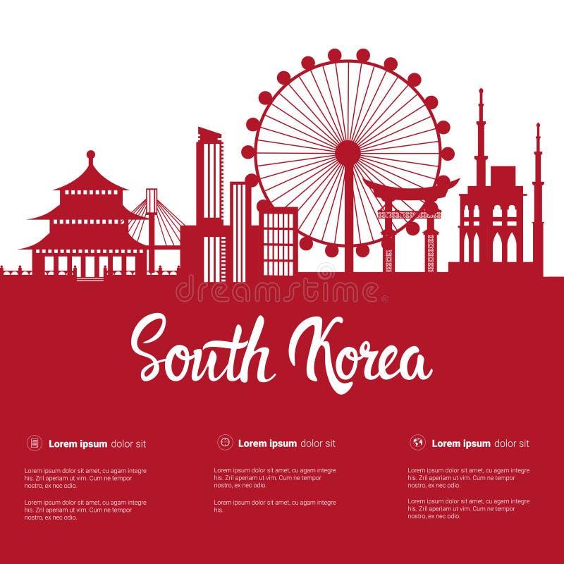 Opinión famosa de la ciudad de los edificios de Seul de la silueta de las señales de la Corea del Sur con los monumentos en el fo libre illustration