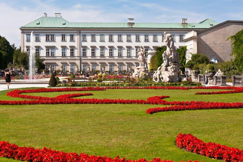Opinión famosa del jardín de Mirabell en Salzburg, Austria imágenes de archivo libres de regalías