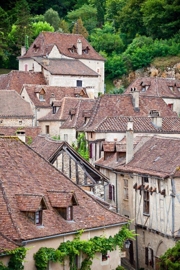 Opinión francesa de Lapopie del santo-Cirq de la pequeña ciudad desde arriba imagen de archivo libre de regalías