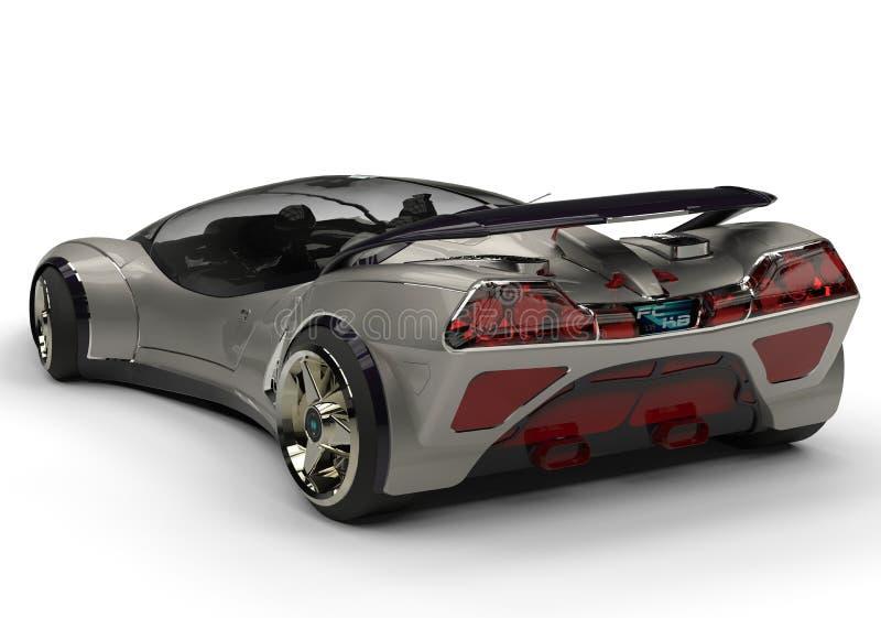 Opinión futura de la parte posterior de la plata del coche ilustración del vector