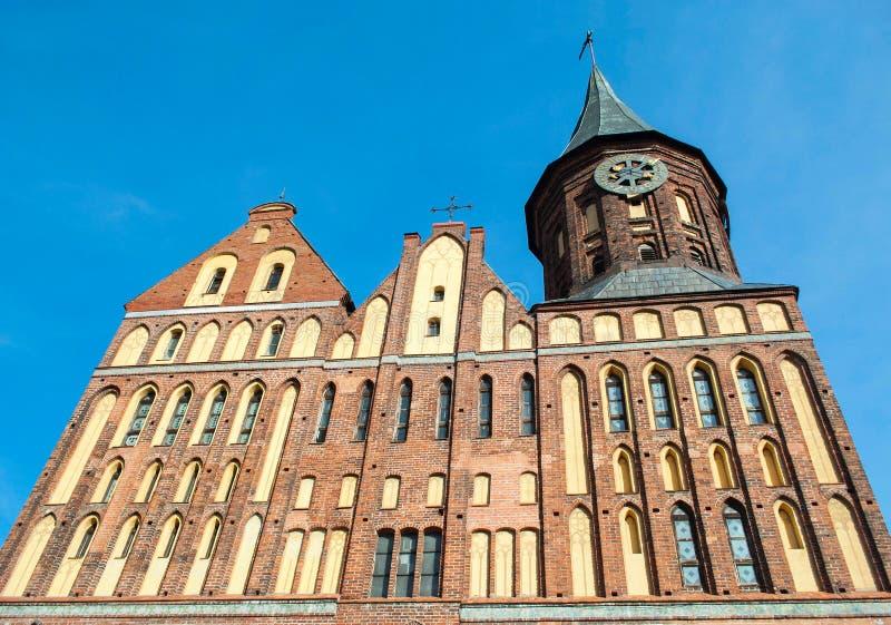 Opinión gótica de la catedral del estilo del ladrillo de abajo hacia arriba fotografía de archivo